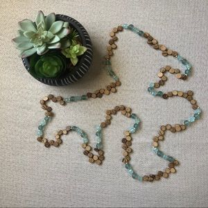 Jewelry - Long Strand Wood and Bead Necklace in Ocean
